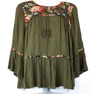 Hannah Blouse Olive Green Floral Embroidered Top